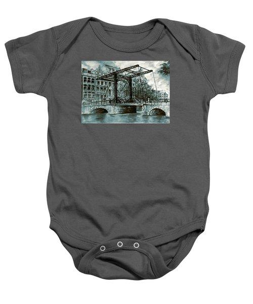 Old Amsterdam Bridge In Dutch Blue Water Colors Baby Onesie