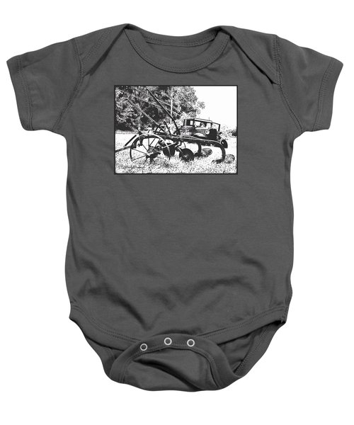 Old And Rusty In Black White Baby Onesie