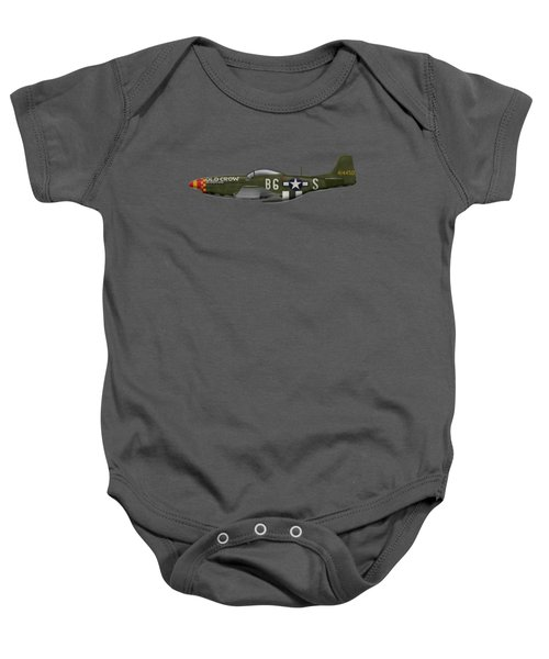Old Crow - P-51 D Mustang Baby Onesie by Ed Jackson
