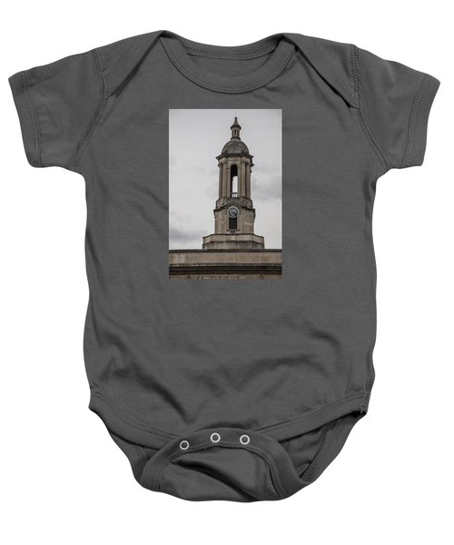 Old Main From Front Clock Baby Onesie by John McGraw