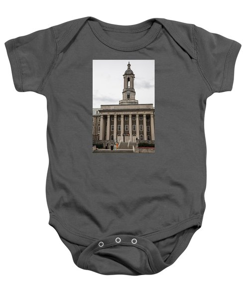 Old Main Penn State From Front  Baby Onesie by John McGraw