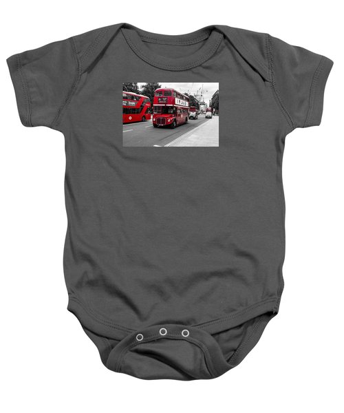 Old Red Bus Bw Baby Onesie