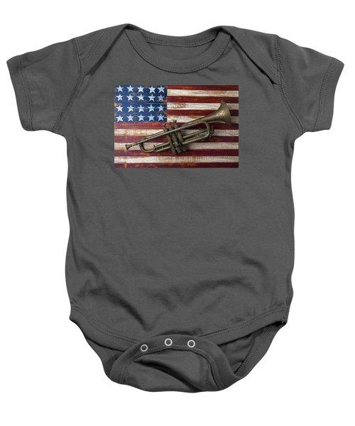 Old Trumpet On American Flag Baby Onesie