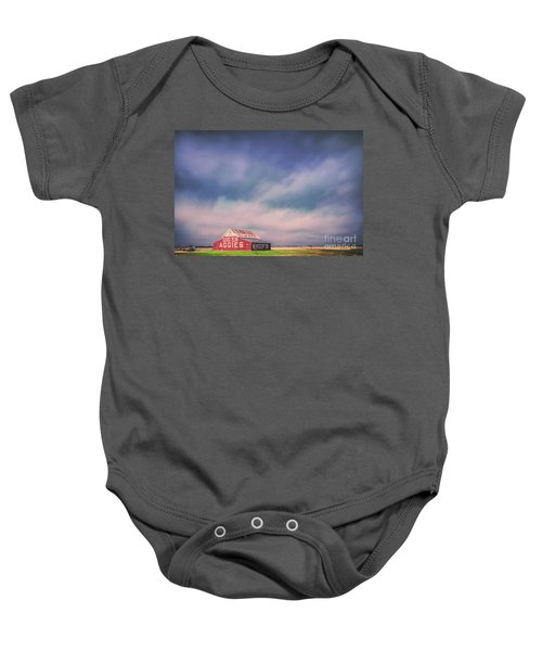 Ominous Clouds Over The Aggie Barn In Reagan, Texas Baby Onesie