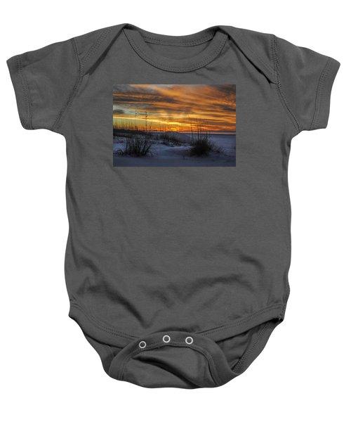 Orange Clouded Sunrise Over The Pier Baby Onesie