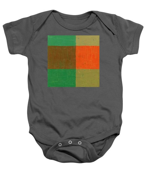 Baby Onesie featuring the painting Orange With Brown And Teal by Michelle Calkins