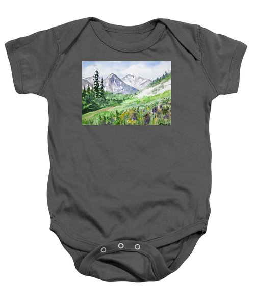 Original Watercolor - Colorado Mountains And Flowers Baby Onesie