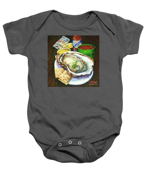 Oyster And Crystal Baby Onesie