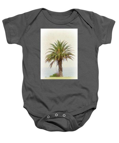 Palm Tree In Coastal California In A Retro Style Baby Onesie