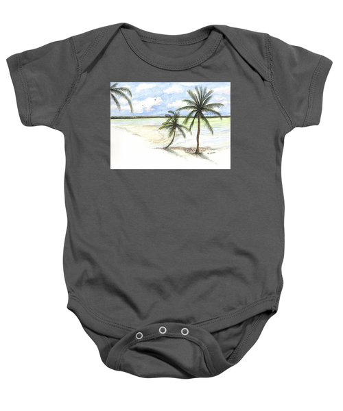 Palm Trees On The Beach Baby Onesie
