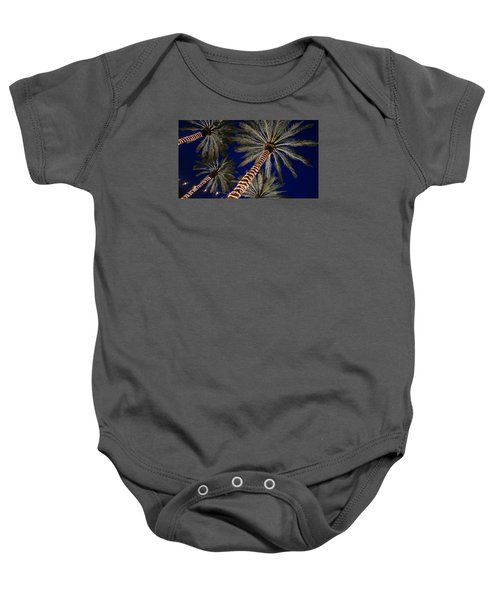 Palm Trees Wrapped In Lights Baby Onesie