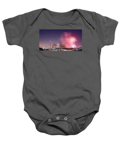 Panorama Of Downtown Houston Skyline Fireworks On The 4th Of July - Harris County Texas Baby Onesie