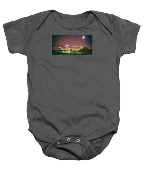 Panorama Of The Seventh Street Bridge And Downtown Fort Worth With Full Moon Above - Trinity River Baby Onesie