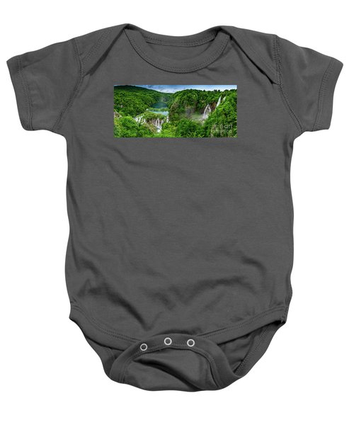 Panorama Of Turquoise Lakes And Waterfalls - A Dramatic View, Plitivice Lakes National Park Croatia Baby Onesie