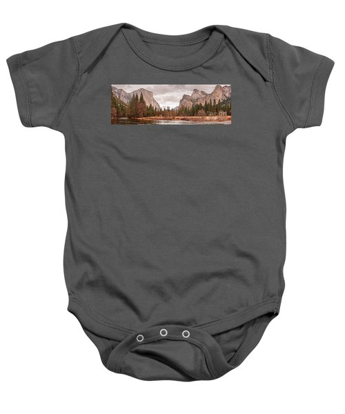 Panoramic View Of Yosemite Valley From Bridal Veils Falls Viewing Point - Sierra Nevada California Baby Onesie