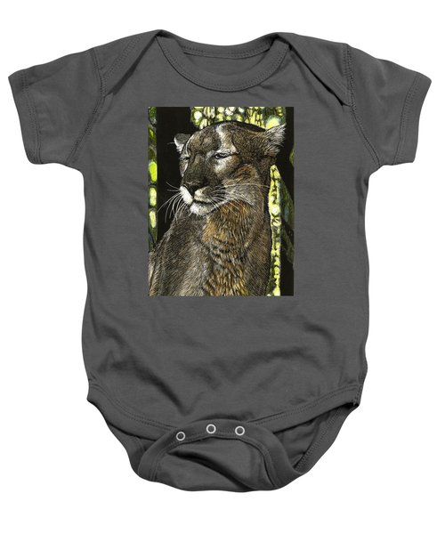 Panther Contemplates Baby Onesie