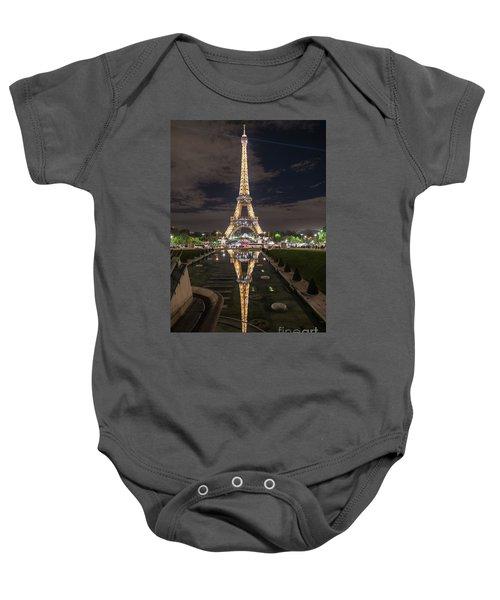 Paris Eiffel Tower Dazzling At Night Baby Onesie by Mike Reid