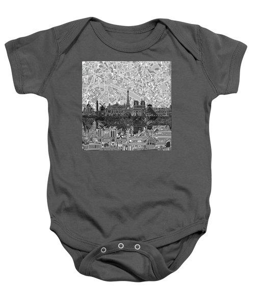 Paris Skyline Black And White Baby Onesie