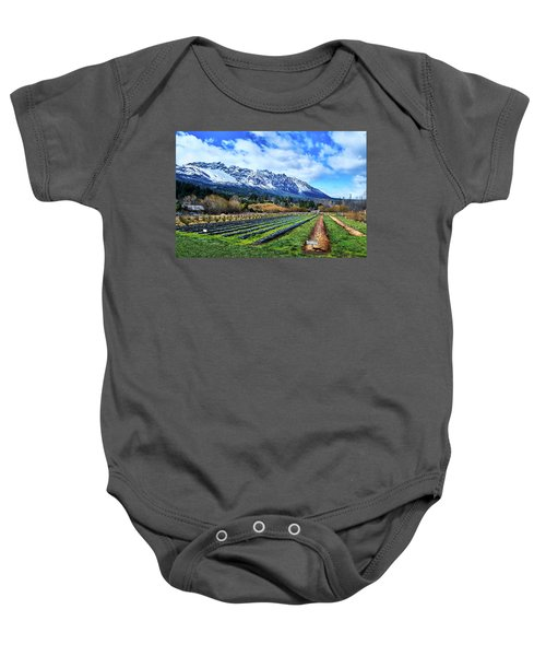 Landscape With Mountains And Farmlands In The Argentine Patagonia Baby Onesie