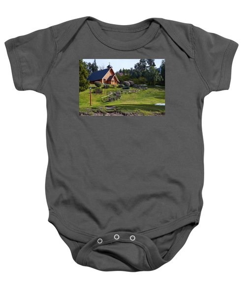 Rustic Church Surrounded By Trees In The Argentine Patagonia Baby Onesie