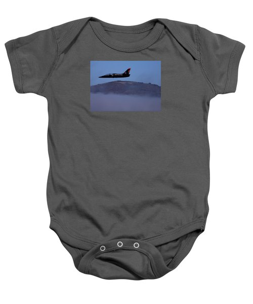 Patriot Jet Skims The Fog Over San Francisco Bay Baby Onesie