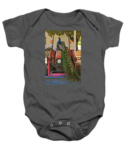 Peacock And His Ride Baby Onesie