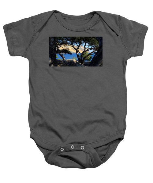 Peeping Through Pines Baby Onesie