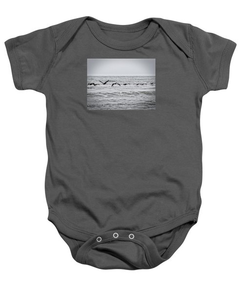 Pelican Black And White Baby Onesie