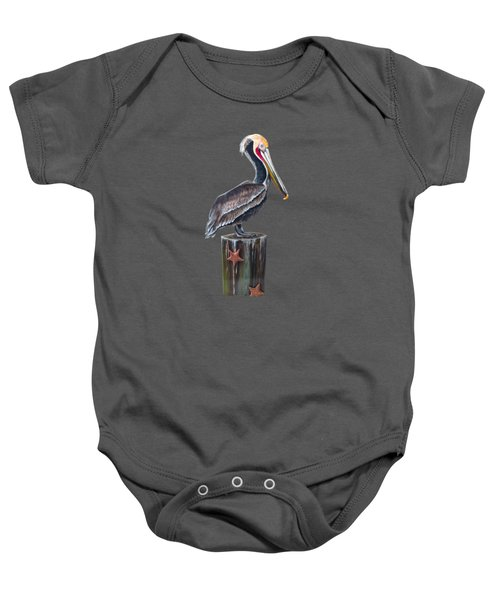 Pelican Standing On A Piling Baby Onesie
