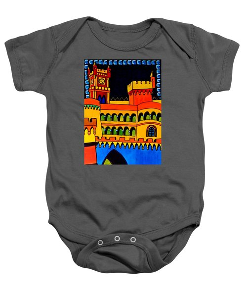 Baby Onesie featuring the painting Pena Palace Portugal by Dora Hathazi Mendes