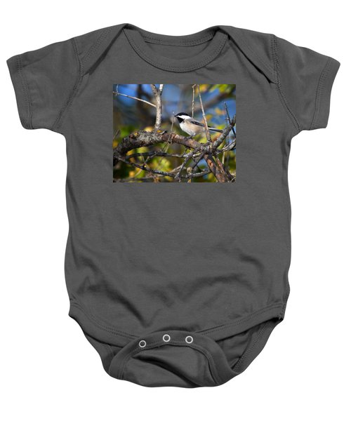 Perched Black-capped Chickadee Baby Onesie