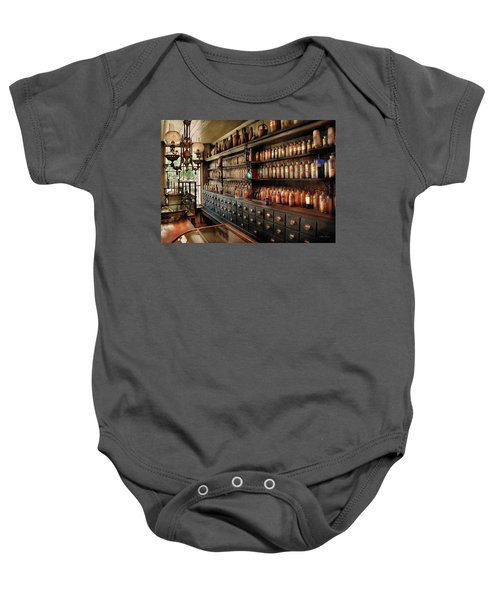 Pharmacy - So Many Drawers And Bottles Baby Onesie