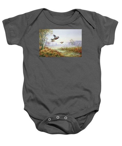 Pheasants In Flight  Baby Onesie by Carl Donner