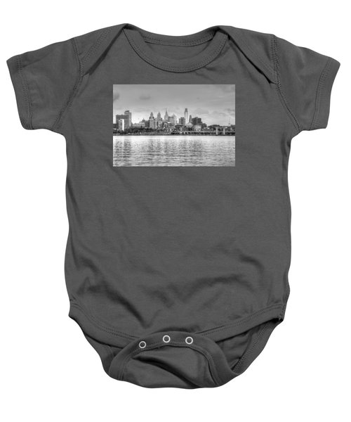 Baby Onesie featuring the photograph Philadelphia Skyline In Black And White by Jennifer Ancker