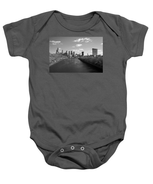 Baby Onesie featuring the photograph Philly B/w by Jennifer Ancker