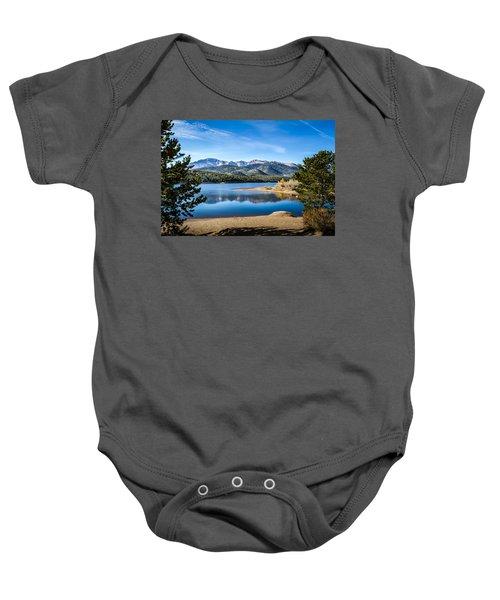 Pikes Peak Over Crystal Lake Baby Onesie