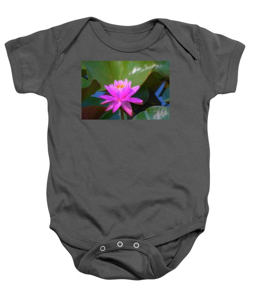Pink Water Lilly And Ladybugs Baby Onesie