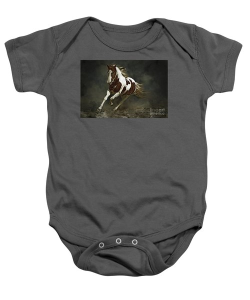 Pinto Horse In Motion Baby Onesie
