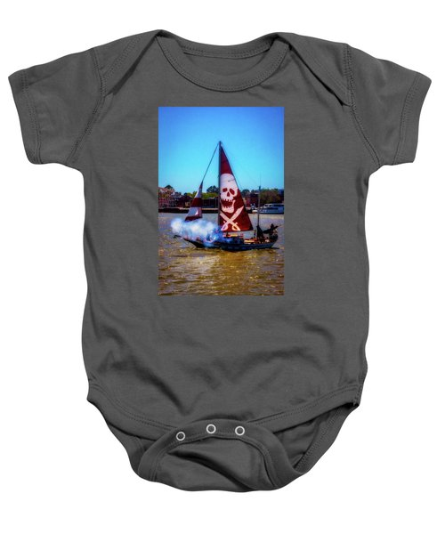 Pirate Ship With Red Skull Sail Baby Onesie