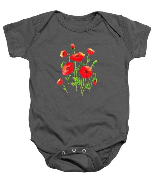 Playful Poppy Flowers Baby Onesie
