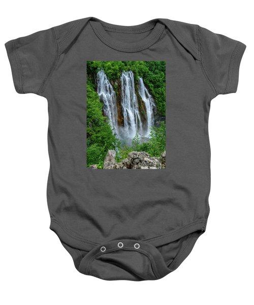 Plitvice Lakes Waterfall - A Balkan Wonder In Croatia Baby Onesie