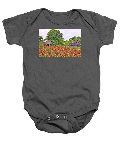 Poppies On The Farm Baby Onesie