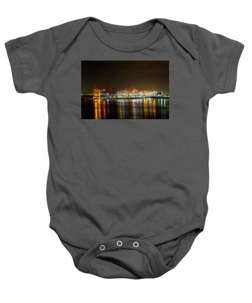 Port Of Vancouver Bc At Night Baby Onesie