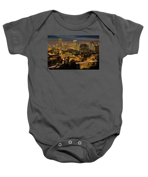 Portland Downtown Cityscape And Freeway At Night Baby Onesie