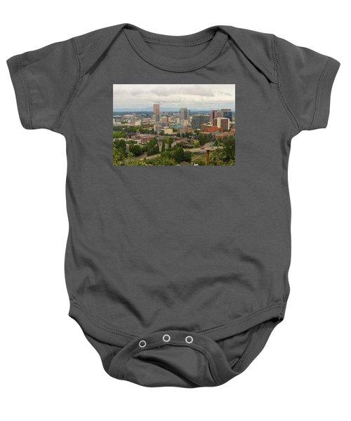 Portland Oregon Downtown Cityscape By Freeway Baby Onesie