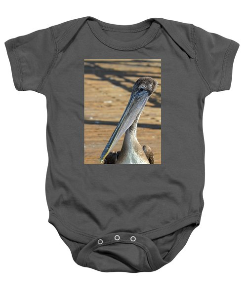 Portrait Of A Pelican On The Pier Baby Onesie