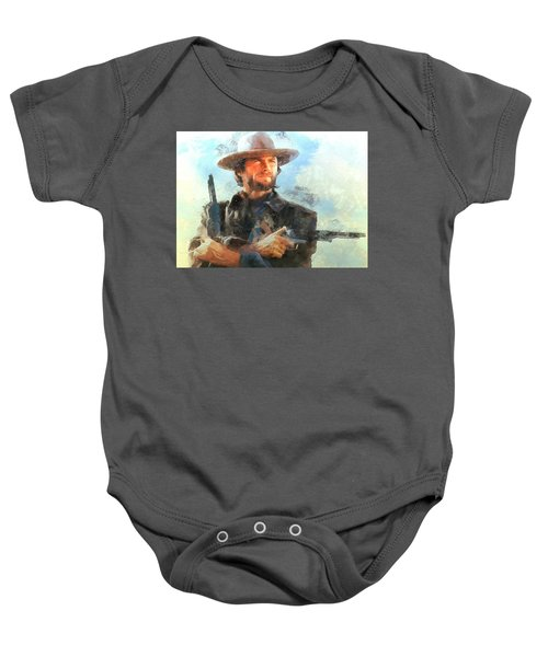 Baby Onesie featuring the digital art Portrait Of Clint Eastwood by Charmaine Zoe