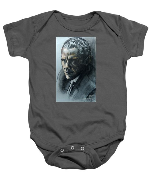 Charcoal Portrait Of President Obama Baby Onesie