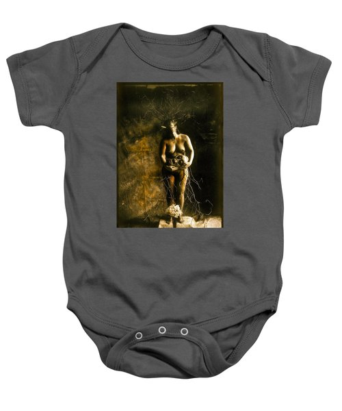 Primitive Woman Holding Mask Baby Onesie
