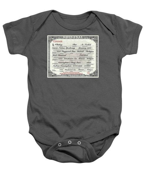 Prohibition Prescription Certificate Carrie Nation Speakeasy Baby Onesie